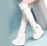 Ladies lace up over knee high boots platform wedge high heels shoes Punk hot sz