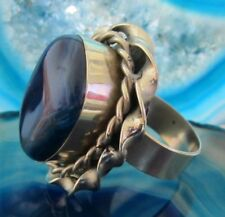 Ring Alpaka Silber Stein Achat blau aus Peru Ethno Indianer Inka Maya Stil 05