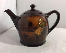 Rare Antique Royal Doulton Kingsware Small Teapot Old Lady & Cat Noke AF