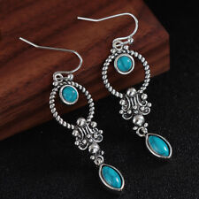 Dangle Hook Earring Natural Stone Pendant Turquoise GEMSTONE Retro Thai Silver