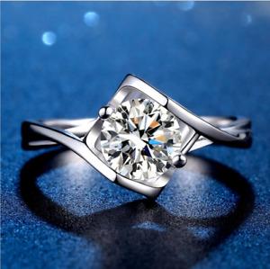 Certified 1.0 Ct. Moissanite Angel's Kiss Platinum Wedding Ring