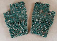 Hand Knit Fingerless Gloves - Green w/ orange
