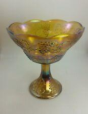 Harvest Grape Iridescent 1960'S Amber Carnival Glass Pedestal Bowl