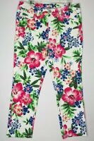 Womens US Polo Assn White Pink Floral Print Skinny Jeans with Stretch Size 12