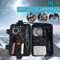 9 in 1 SOS Kit Outdoor Emergency Equipment Box For Camping Survival Gear Kit