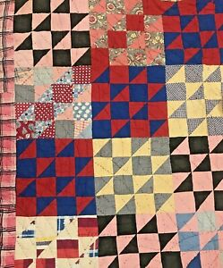 "Vintage Handmade Patchwork Quilt Cotton Feedsack Fabrics Cutter As Is 74""x84"""