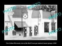 OLD LARGE HISTORIC PHOTO OF NEW LISBON WISCONSIN, THE RED CROWN GAS STATION 1940