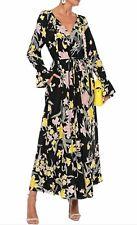 DIANE VON FURSTENBERG Imogene Black Floral Print Silk Crepe Maxi Dress S