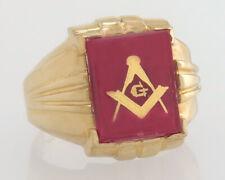 Vintage Art Deco 10K Yellow Gold 3.00ct Ruby Freemasonry Masonic Men's Ring 5.5g