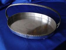 GRAND ANCIEN PLATEAU SERVITEUR DE TABLE  MÉTAL ARGENTE CORBEILLE A FRUITS PLAT