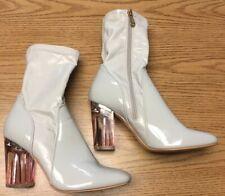 Cape Robbin Clear High Heel Mid Calf Boots, Beige Pink, 8.5
