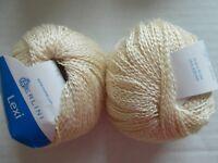 Berlini Lexi cotton blend fashion yarn, cream, lot of 2 (218 yds each)