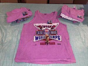 Adult Xl Pink Shirt VINTAGE 1990 DETROIT PISTONS WORLD CHAMPS BACK To BACK Tank
