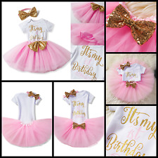 It's My 1st Birthday Girl Dress 1 Year Baby Outfit Romper Skirt Headband 3pc Set