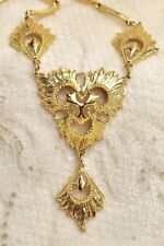 """Gold Textured Lavaliere Necklace 20"""" to 21"""" Long"""