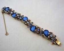 Vintage DELIZZA & ELSTER Juliana Link Bracelet Blue Swirl Aurora Borealis Stones