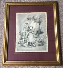 Vintage Framed Childrens Ilustration By Masha/Marie Simchow Stern/1940's/WW2 Era