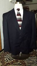 Vintage Warren K Cook Custom Black Pinstripe Suit Size 42R Strauss 100% Wool