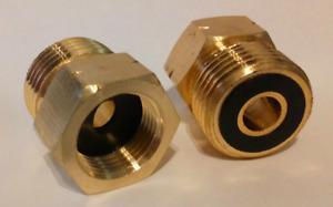 Gas Hose Adapter 21.8-14 To G 3/8-19 Regulator Bottle Pipe Burners Brass Threat