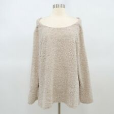 Soft Surroundings Sweater Pullover Womens PXL Off Shoulder Chunky Knit Beige
