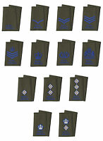 Pair of Royal Signals Blue on Olive Green Rank Slides ( British Army ) All Ranks