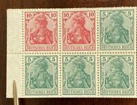 Germany 1919 82g MNH Germania Booklet Pane: Deutsches Reich: Stamps