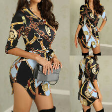❤️ Womens Sexy Chain Print Bodycon Mini Dress Ladies Party Irregular Shirt Dress