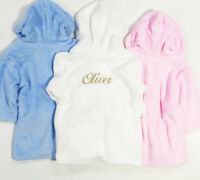 Embroidered Personalised Baby girls spotty Soft Baby Dressing Gown Bath Robe