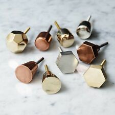 Gold Brass Octagonal Metallic Drawer Knobs Cabinet Pull Door Handles Bombay Duck