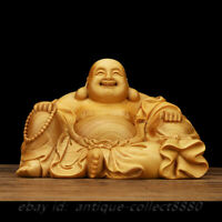 Chinese Box-wood Hand Carving Happy Laugh Maitreya Buddha Moneybag Wealth Statue