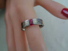 TITANIUM RING BAND W, RUBY STONE, GOLD ACCENT STRIP DOWN THE CENTER SIZE 12
