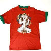 Santa Claus Vtg 90s Red T-Shirt Roll-Up Sleeves Men's Medium Christmas