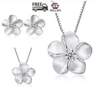 """UK """"Forget me Not"""" Sterling Silver CZ Jewellery Set Gift Boxed"""