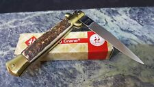 Kissing Crane Italy Stiletto Stag Handle Old Stock Folding Blade Knife KC47S