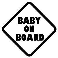 "BABY ON BOARD Vinyl Decal Sticker Car Window Wall Bumper Babies Warning 6"" Black"