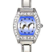 Saluki Dog Cubic Zirconia Women Stainless Steel Italian Charm Wrist Watch BJ1044