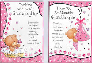 Thank You For A  Granddaughter/ Great -Granddaughter Card  In Various Designs.