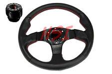 88-91 Honda Civic Acura DA DB Black on Black Steering Wheel w/Red Stitching +Hub