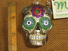 Mwcf Glassworks Blown Glass Silver Day Of The Dead Skull Ornament zombie gift