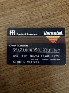 Bank of America Check Guarantee Card Debit Visa  VIP exp 1986 Versatel Vintage