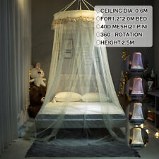Round Mosquito Net Canopy Fly Insect Protect Single Entry For Double King Bed