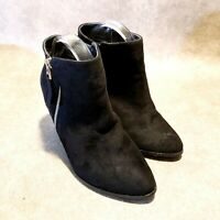 "Free Reign Womens  5725W Sz 8 W Black Vegan Suede Ankle Boots Booties 4"" Heels"