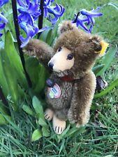 """Vintage Steiff """"Teddy Baby"""" Bear 029721 - Ear Button, Tag, Collar, Jingle Bell"""