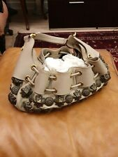 BURBERRY Prorsum Leather Mason Warrior Studded Hobo Beige Bag