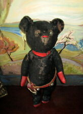 Rare very early black Antique Teddy bear /pre 1 world war/Roosevelt/Cowboy