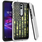 Silver Combat Case for Coolpad Legacy Brisa 2020 Phone Cover -GREEN CAMO US FLAG
