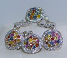 GENUINE 2.64tcw Fancy Sapphire, Solid S/Silver 925, Set Ring/Pendant/Earrings