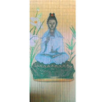 Bamboo Beaded Handmade Curtain Window Door Room Divider Chinese Quan Yin Goddess