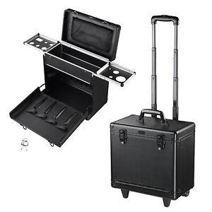 PVC Hair Makeup Train Case Baber Salon Clipper Trimmer Tool Appliance Box Black