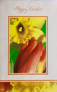 Happy Easter greetings card, Sunday 4th April, flowers theme, brand new